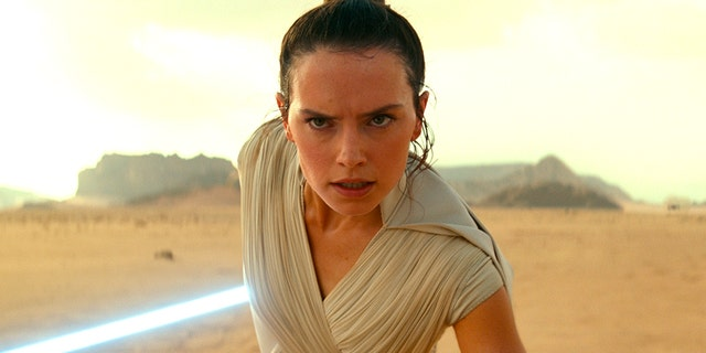 This image released by Disney / Lucasfilm shows Daisy Ridley as Rey in a scene from
