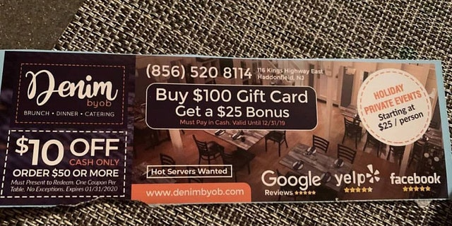The coupon offering $10 off of cash-only orders $50 and publicizing a gift card deal is said to have been mailed to over 30,000 homes in the Haddonfield and Cherry Hill areas
