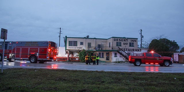 Emegency crews were investigating after a tractor trailer destroyed the Desert Inn and Restaurant in Yeehaw Junction, Fla., Sunday.