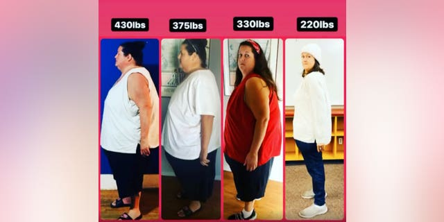 Some of the stages throughout her weight loss journey. (SWNS)