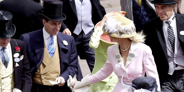 Royal Ascot Race Meeting Thursday - Ladies Day. Prince Andrew, The Duke Of York and Jeffrey Epstein (far right) At Ascot. With them are Edward (far left) and Caroline Stanley (in pink), the Earl and Countess of Derby.