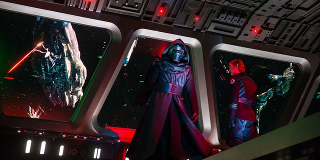 Guests come face to face with First Order Supreme Leader Kylo Ren as they stumble into the bridge of a Star Destroyer in Star Wars: Rise of the Resistance.