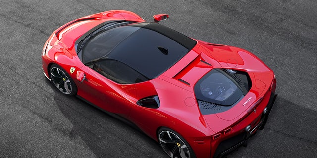 The SF90 Stradale features a mid-mounted V8 and operates in front-wheel-drive when it is in all-electric mode.