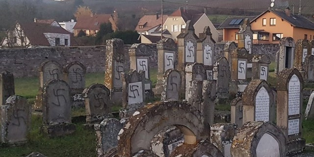 Swastikas were spray-painted onto tombstones at a cemetery in Westhoffen, France this week.