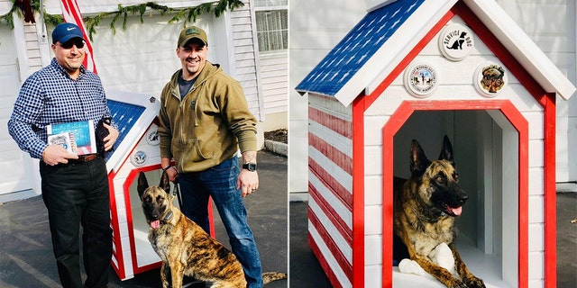 New Jersey police dog, Army vet partner accept donated patriotic doghouse