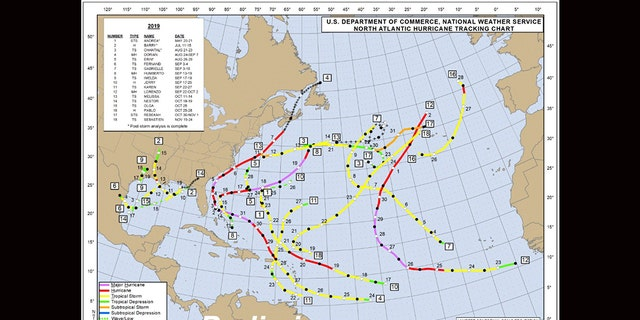 The tracks of all the tropical storms and hurricanes of the 2019 Atlantic Hurricane Season.