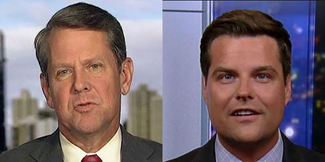 Georgia Gov. Brian Kemp, left, has been feeling some pressure from U.S. Rep. Matt Gaetz, R-Fla., right, over Georgia's upcoming U.S. Senate vacancy.