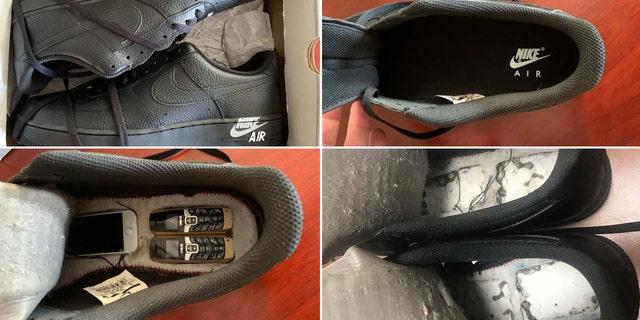 Tiny phones hidden in Nike sneakers