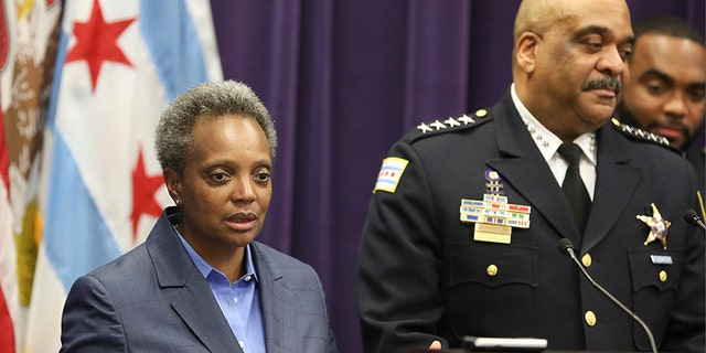 In this Nov. 7 file photo, Mayor Lori Lightfoot speaks as Chicago Police Superintendent Eddie Johnson announces his retirement after more than three years leading the department in Chicago. (AP)