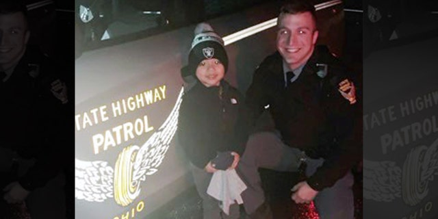"Camden was all smiles after Ohio Trooper Alex Schlottag found his ""booboo"" Sunday and returned it to him."