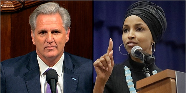 Rep. Kevin McCarthy's reference to a past remark by a fellow Squad member reportedly irritated Rep. Ilhan Omar on Wednesday.