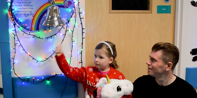 "Mia rang the ""end of treatment"" bell on Dec. 17 and celebrated this weekend with her parents and sister."