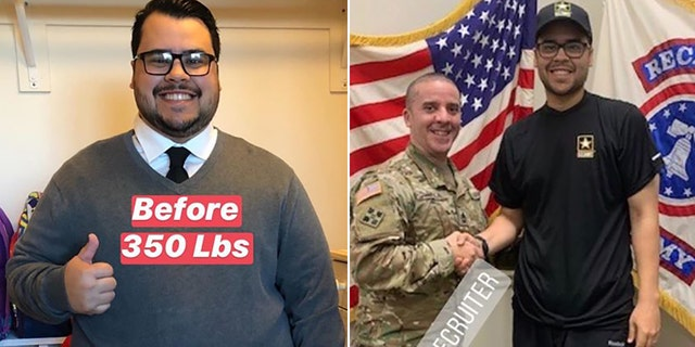 Montijo achieved his dream of joining the U.S. Army after losing 165 pounds, nearly half his initial 350-pound bodyweight.