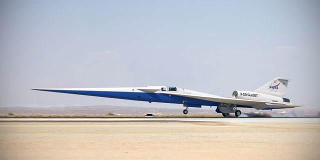Illustration of the completed X-59 QueSST landing on a runway. (Credit: Lockheed Martin)
