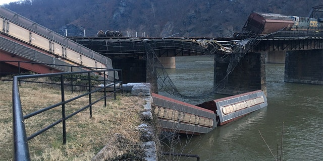 The derailment Saturday of CSX freight train could be seen from downtown Harpers Ferry in West Virginia.