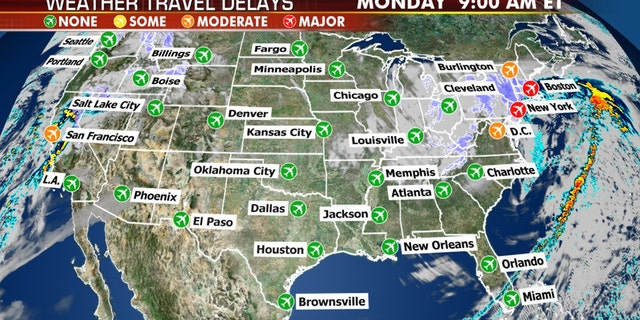 The nor'easter will impact travel particularly along the East Coast on Monday.