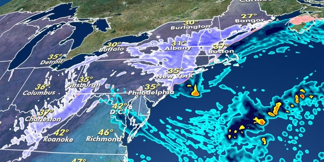 A nor'easter will bring heavy snow to inland portions of the Northeast through Tuesday morning.