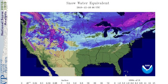 Estimated satellite derived snow cover across the U.S. as of Dec. 18, 2019.