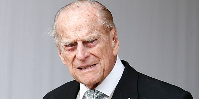 Prince Philip, Duke of Edinburgh attends the wedding of Princess Eugenie of York to Jack Brooksbank at St. George's Chapel on October 12, 2018, in Windsor, England.