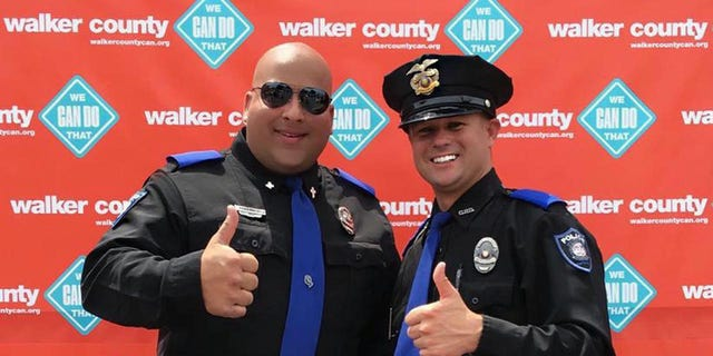 Walker County Sheriffs T.J. Armstrong and Nick Smith. Armstrong is the public information officer and Smith is the officer who received a complaint from the Freedom From Religion Foundation about asking the community to pray in the wake of tragedies.
