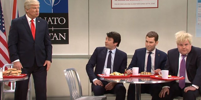 "From left, Alec Baldwin, Jimmy Fallon, Paul Rudd and James Corden play world leaders at last week's NATO summit on ""Saturday Night Live."" (NBC)"