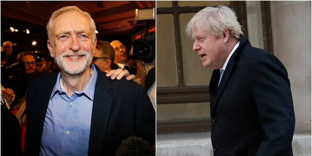 Thursday's UK election will decide which leader, Boris Johnson, left, or Jeremy Corbyn, right, will lead the country into Brexit. (Associated Press photos)