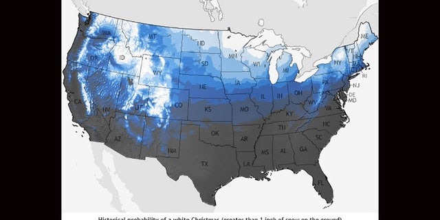 A historical probability map of seeing a white Christmas in the contiguous United States, using data from 1981-2010.