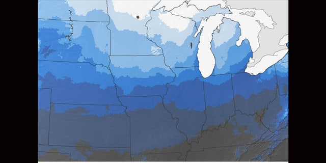 The probability of seeing a white Christmas in the Midwest, as seen in this map from NOAA.