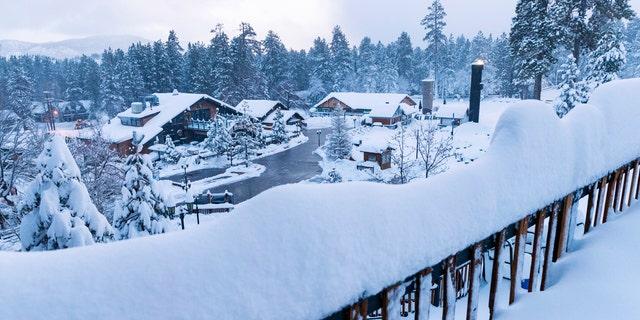 This photo provided by Big Bear Mountain Resort shows a fresh snow fall at Big Bear Mountain Resort in Big Bear Lake, Calif.