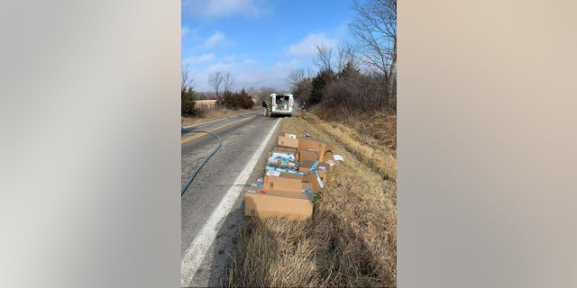 A U.S. postal worker saved several packages Sunday when his mail truck caught fire.