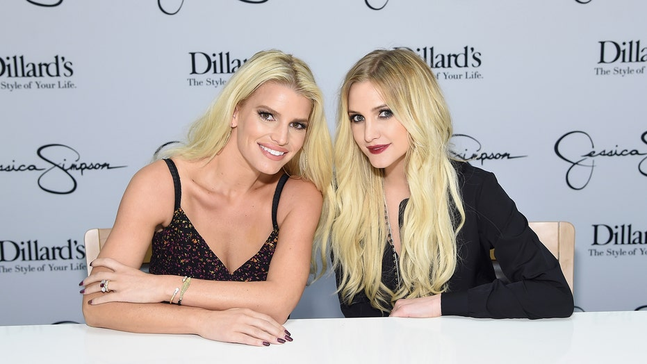 Ashlee, Jessica Simpson stun in glamorous sparkling dresses at friend's wedding 'full of fancy gowns'