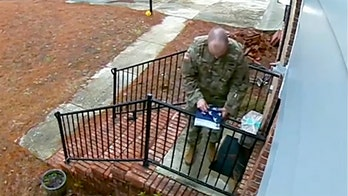 Video shows soldier folding American flag that came down in storm at stranger's house