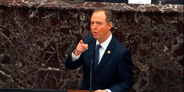 In this image from video, House impeachment manager Rep. Adam Schiff, D-Calif., speaks during the impeachment trial against President Donald Trump in the Senate at the U.S. Capitol in Washington, Wednesday, Jan. 22, 2020. (Senate Television via AP)