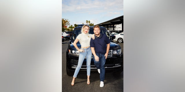 "Miley Cyrus and James Corden perform in a Carpool Karaoke during ""The Late Late Show with James Corden."""