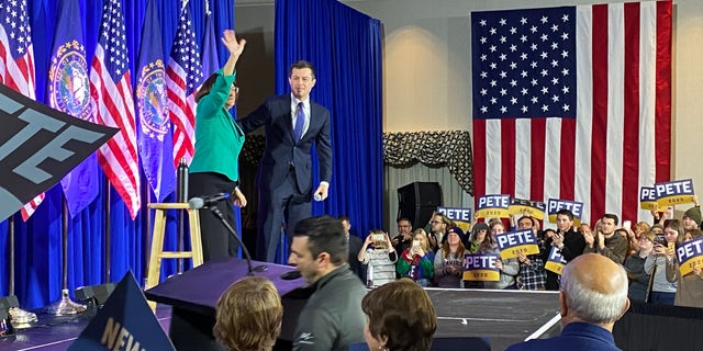 Rep. Annie Kuster of New Hampshire endorses Pete Buttigieg for the Democratic presidential nomination at a campaign event in Concord, NH