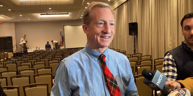 Democratic presidential candidate Tom Steyer speaks with reporters on Jan. 9, 2020 in Manchester, NH
