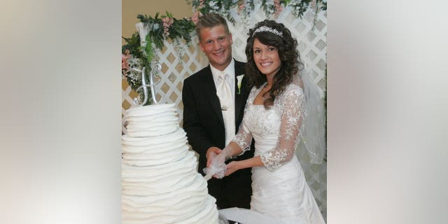 Joseph Habedank and wife Lindsey at their wedding in 2010.