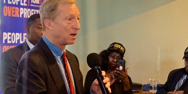 Tom Steyer speaks at a meeting with Black Leadership in Charlotte, N.C., Jan. 17