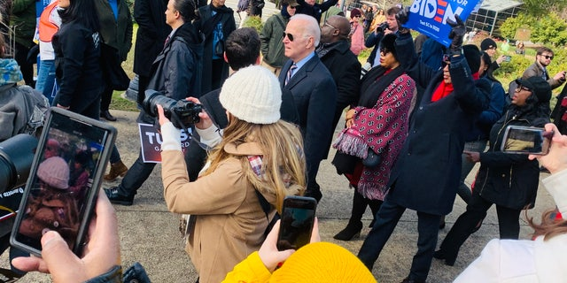 Former Vice President Joe Biden joins the Martin Luther King Day at the Dome March in Columbia, S.C., Jan. 20.