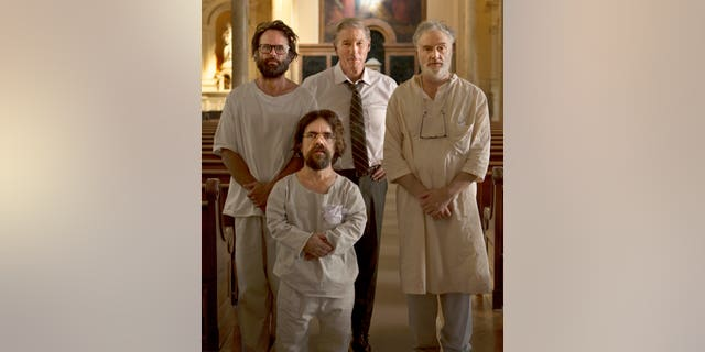 Clockwise: Leon (Walton Goggins), Dr. Stone (Richard Gere), Clyde (Bradley Whitford), Joseph (Peter Dinklage)