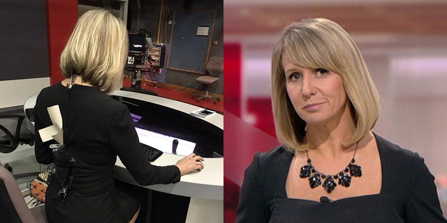 "BBC television anchor Liz Beacon had to think quickly when the back zipper securing her dress ""popped"" open moments before the show went live."