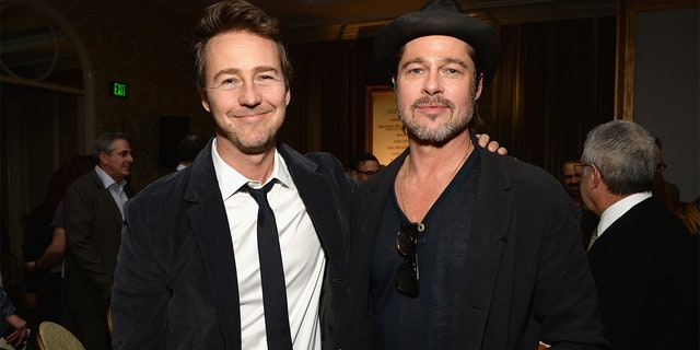 Edward Norton and Brad Pitt attend the 15th Annual AFI Awards at Four Seasons Hotel Los Angeles at Beverly Hills on January 9, 2015 in Beverly Hills, California. (Photo by Michael Kovac/Getty Images for AFI)