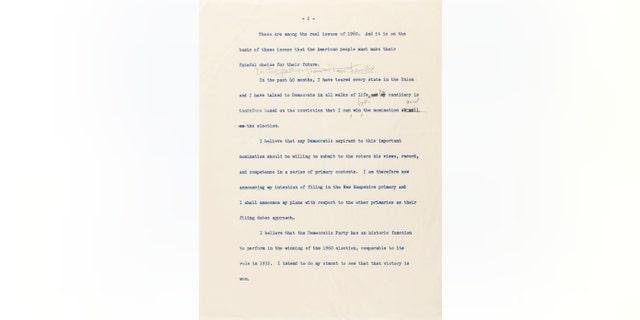 Westlake Legal Group 8102d8af-jfk-letter-2 JFK handwritten speech announcing his run for president set to go up for auction fox-news/politics fox-news/columns/digging-history fox news fnc/science fnc Chris Ciaccia article 13909b27-a81b-5f85-b9b7-2a49bf929a7a