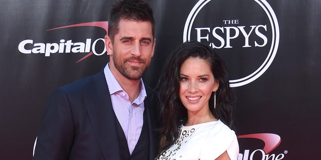 Olivia Munn and Aaron Rodgers in 2016. (Photo by Gregg DeGuire/WireImage via Getty)