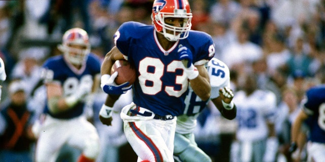 Andre Reed scored in the Bills' first-ever AFC title game appearance. (Photo by Focus on Sport/Getty Images)