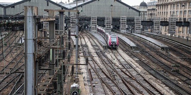 A train is picture at Gare Saint Lazar train station during the 29th day of transport strikes in Paris, Thursday, Jan. 2, 2020.