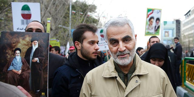 In this Thursday, Feb. 11, 2016, file photo, Qassem Soleimani, commander of Iran's Quds Force, attends an annual rally commemorating the anniversary of the 1979 Islamic revolution, in Tehran, Iran. Iraqi TV and three Iraqi officials said Friday, Jan. 3, 2020, that Gen. Qassem Soleimani, the head of Iran's elite Quds Force, has been killed in an airstrike at Baghdad's international airport. (AP Photo/Ebrahim Noroozi, File)