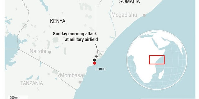 The U.S. military says a soldier was killed during a Sunday pre-dawn attack on a Kenyan airfield by the al-Shabab extremist group.