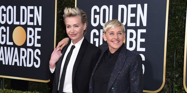 Portia de Rossi, left, and Ellen DeGeneres arrive at the 77th annual Golden Globe Awards at the Beverly Hilton Hotel on Sunday, Jan. 5, 2020, in Beverly Hills, Calif.