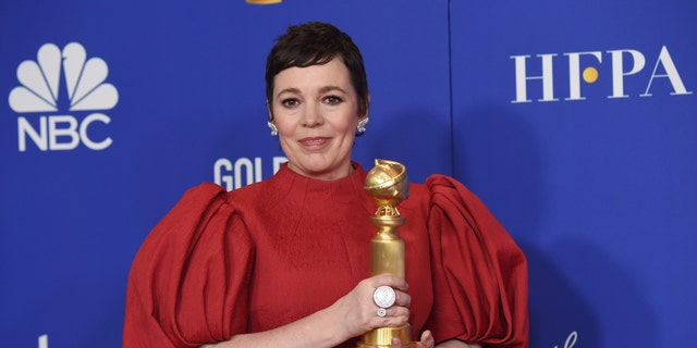 "Olivia Colman poses in the press room with the award for best performance by an actress in a television series, drama for ""The Crown"" at the 77th annual Golden Globe Awards at the Beverly Hilton Hotel on Sunday, Jan. 5, 2020, in Beverly Hills, Calif."